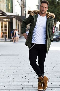 Daniel Fox wearing  Alpha Industries Polar Parka Jacket, Timberland '6 Inch Premium' Waterproof Boot