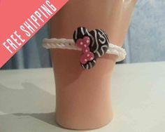 Minnie Mouse Zebra  bracelet  pick colors for by nannasKnitneys, $4.99