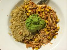 Crockpot Salsa Chicken Omit corn, add black beans. Diced tomatoes with chiles instead of salsa  Serve inside lettuce