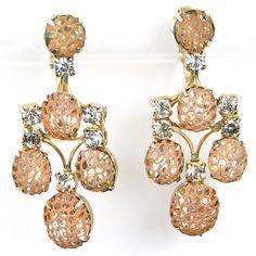 Kramer of New York Pink Mesh over Diamonds Pendant Clip Earrings