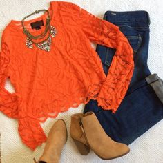"""NWT H&M Orange Lace Crop Top OFFERS WELCOME. PLEASE USE THE OFFER BUTTON. I DO NOT NEGOTIATE PRICE IN THE COMMENTS. Stunning orange color! Lined in front only. Very soft lace. Size L. Has some stretch. Pulls over head. Approximately 18"""" long and 18"""" across at bustline. H&M Tops Crop Tops"""