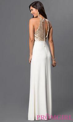 Image of Sleeveless Floor Length Dress with Sequin Back Image