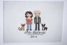 My cross-stitch portraits started with this one of me, my husband, and Lucy and Pepper.  http://stitchpeople.com/products/custom-family-portrait?utm_source=lizzy_pinterest_medium=social_content=bean_2011_campaign=summer_pinterest