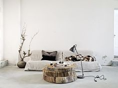 like these big slices of a tree trunk for a coffee table