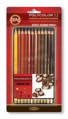 Umělecké pastelky 12 ks Koh-I-Noor Polycolor 3822/12 Hnědá řada - Brown Line