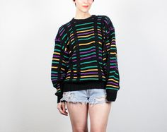 Vintage 90s Boyfriend Sweater Black Teal by ShopTwitchVintage