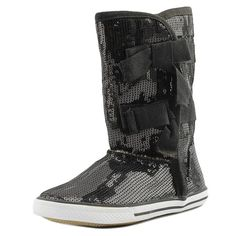"Volatile Kids Shimmer Youth US 11 Black Boot. The style name is Shimmer. The style number is SHIMMER-BLK. Brand Color: Black (Main Color: Black). Material: Sequin. Measurements: Shaft measures 9"", Circumference measures 11"" and 0.75"" heel. Width: M (Y)."