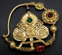 India | Old solid 22k gold Nose ring from Rajasthan.  Floral stamped design with glass beads | 1,450$