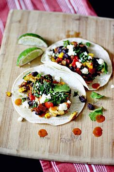 Veggie Tacos with Queso Fresco- simple recipe that can be easily adapted