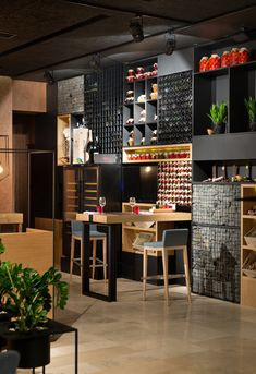 Ukraine-based YOD Design Lab have recently completed a restaurant named Food & Forest. Design: YOD Design Lab Photography by Andrey Avdeenko from contemporist Decoration Restaurant, Restaurant Interior Design, Cafe Interior, Interior Design Living Room, Forest Restaurant, Deco Restaurant, Design Café, Hospitality Design, Commercial Interiors