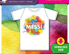 Art Birthday Party T Shirt Iron On Design | Printable | Kids Paint Theme | Rainbow | Instant Download | Check our Shop for More Decorations