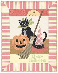Happy Halloween is the sixth in a collection of holiday quilts inspired by vintage postcards.