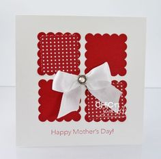 Square card with punch outs and ribbon Mom Cards, Mothers Day Cards, Scrapbooking, Scrapbook Cards, Cricut Cards, Stampin Up Cards, Holiday Cards, Christmas Cards, Christmas Paper