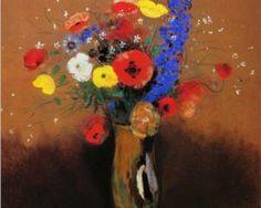 Wild flowers in a Long-necked Vase - Одилон Редон