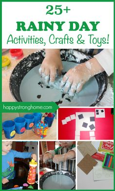 25+ best rainy day activities, crafts, games, and ideas for 2-6 year olds! Everything from toys that are great for indoor play, to easy crafts, science experiments for kids and a rainy day block maze idea!