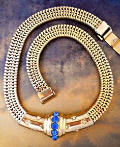 Brookcraft Mesh Necklace Slide Choker Blue by RenaissanceFair Antique Jewelry, Vintage Jewelry, Vintage Necklaces, Bling Jewelry, Jewelry Box, Jewelry Necklaces, Vintage Rhinestone, Vintage Costume Jewelry, Modern Jewelry