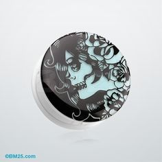 Glow in the Dark Day of the Dead Girl Single Flared Ear Gauge Plug