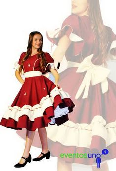 Fotos de vestidos de huasa Clogs Outfit, Dance Dresses, Pretty Little, Gowns, Fashion Outfits, Costumes, Disney Princess, Chic, Pattern