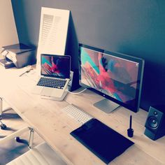 Idea about Home Office Apartment : macbook imac and wacom placement 50 Awesome Workspaces & Offices Office Games, Office Setup, Office Workspace, Office Organization, Office Ideas, Minimal Desk, Dream Desk, Simple Desk, Room Setup
