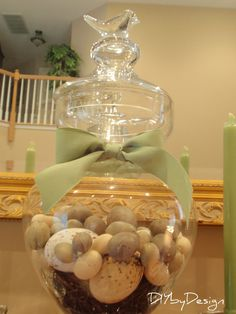 eggs in glass vase for mantle Glass Apothecary Jars, Glass Jars, Easter Ideas, Easter Decor, Mantle Ideas, Holiday Fun, Holiday Ideas, Mantles, Spring Is Here