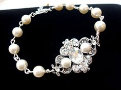 Bridal Pearl bracelet Wedding jewelry Wedding by treasures570