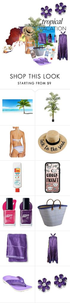 """""""Volcano Vacation"""" by cinpet ❤ liked on Polyvore featuring FOOTPRINTS, CKK Home Decor, Nearly Natural, Shoshanna, Avon, Casetify, Pier 1 Imports, Threshold, Spenco and BillyTheTree"""