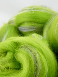 Green Spinning Fiber - Wool Roving  Merino, Bamboo,