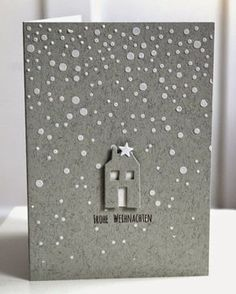 card christmas house snowfall stencil paste star grey tones elegant -Lecture d'u… – Selbermachen – DIY Ideen Christmas Family Feud, Christmas Mail, Handmade Christmas, Christmas Time, Printable Christmas Cards, Christmas Cards To Make, Christmas Greeting Cards, Holiday Cards, Holiday Party Games
