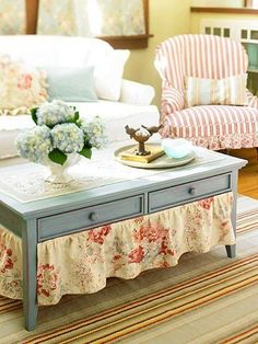 Add ruffled fabric, could be repurposed bedskirt or dustruffle to painted cottage style vintage coffee table to provide storage;  upcycle, recycle, salvage, diy, repurpose!  For ideas and goods shop at Estate ReSale  ReDesign, Bonita Springs, FL