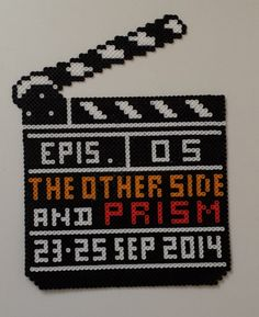 Our ghost group PRISM was honoured to be included in the research and filming of an episode of THE OTHER SIDE for their Season 2.  I made this perler clapboard to commemorate the episode we were filming (#5) and the dates we filmed.
