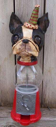 Items similar to Boutique Folk Art Boston Terrier Dog Bubble Gum Machine Ooak Party Whimsical on Etsy Boston Terrior, Boston Terrier Art, Toy Bulldog, Bubble Gum Machine, Terrier Breeds, Terrier Dogs, Boston Art, Toy Fox Terriers, Dog Id