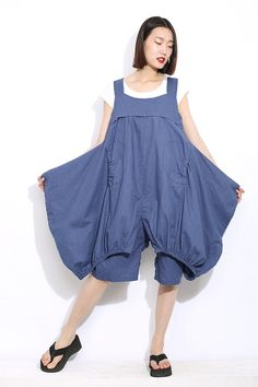 e209deddf313 Lagenlook pants quirky clothing blue linen pants baggy Blue Vans