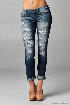 Mid-Rise Ripped Distressed Destroyed Denim Boyfriend Jeans-Blue