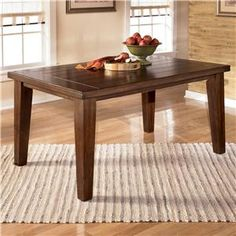Larchmont Rectangular Dining Table by Signature Design by Ashley at Marlo Furniture Dark Wood Dining Table, Dining Table With Leaf, Dining Room Table Decor, Modern Dining Table, Dining Room Design, Dining Tables, Cheap Dining Sets, Oak Dining Sets, Bar Furniture