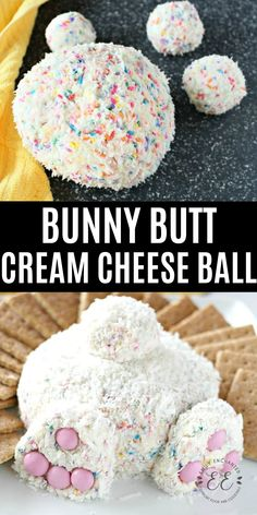 This Bunny Butt Cheese Ball is so scrumptious and quite the cute Easter dessert. This sweet cheese ball is loaded with your favorite goodies like sprinkles, funfetti cake, and cream cheese. Add coconut as the fur and pink M&Ms as the feet. Cute Easter Desserts, Easter Appetizers, Easter Cupcakes, Easter Cookies, Easter Treats, Easter Recipes, Easter Food, Easter Decor, Easter Meal Ideas
