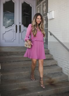 Pleated Pink Dress and Steve Madden Sandals #styleblogger #TTD