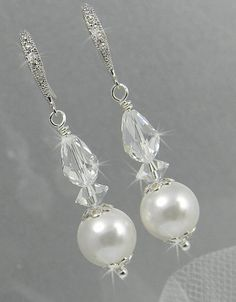 Items similar to Pearl Bridal earrings Crystal Wedding Jewelry Long Dangle, Swarovski crystals and pearls, Avery Earrings on Etsy
