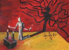 """BLOOD OFFERINGS"" 9x12 painting , original art on bristol board, magic, voodoo"