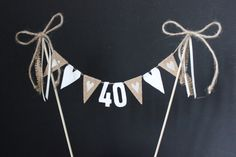 Rustic or birthday cake topper, cake banner / cake bunting with hessian flags and ivory hearts Rustic birthday cake topper cake banner / cake by SoLuvli Rustic Birthday Cake, 21st Birthday Cake Toppers, 40th Cake, 40th Birthday Cakes, 40th Birthday Parties, Diy Birthday, Birthday Bunting, Happy Birthday, Cake Bunting