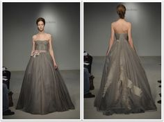 Love this grey tulle wedding dress by Vera Wang!