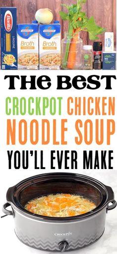 Chicken Noodle Soup Rotisserie, Chicken Soup Recipes, Easy Soup Recipes, Easy Healthy Recipes, Crockpot Recipes, Cooking Recipes, Chicken Noodles, Canned Chicken, Creamy Chicken