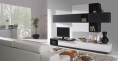 Módulos y huecos, blanco y negro Divertido!! #Kimobel, #decoración, #muebles