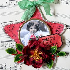 Star Ornament - great way to display old photos - could use old jewelry to frame edges