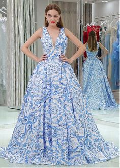 Floral Cloth V-neck Neckline Floor-length A-line Formal Dresses