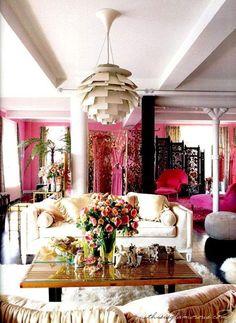 bright pink bohemian interior
