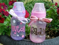 Bottles with baby's name.