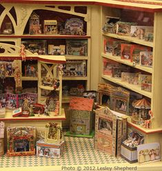 Terrific shelves; great display.  Someone went to a lot of trouble to make this room box look really good.
