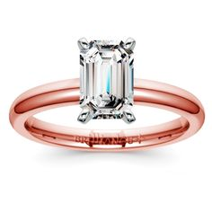 Comfort-Fit Solitaire Engagement Ring in Rose Gold (2mm) | Emerald