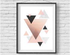 Rose Gold Art, Copper Print, Geometric Art, Blush Printable, Triangle Art, Rose Gold Decor, Scandinavian Print, Modern Art, Digital Print