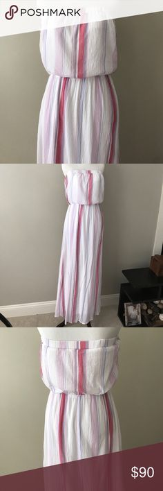 Splendid Size M Strapless Maxi Dress This is a super cute striped dress by Splendid.  It is white with light pinks and purple stripes.  The material is 100% lightweight cotton with a white rayon lining. Splendid Dresses Maxi
